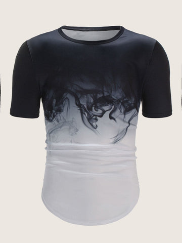 Round Neck Short Sleeve Ink Ombre Tee T-Shirt