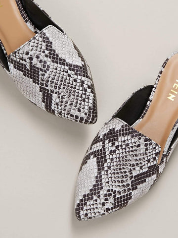 Snake Print Pointed Toe Slide On Flat Mules