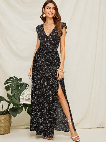 Polk Dot Cap Sleeve Plunging Neck Ruffle Armhole High Split Dress