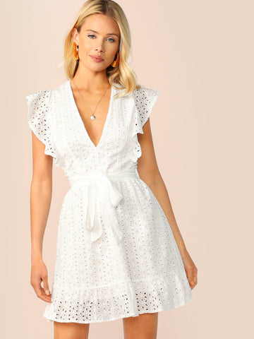 White Plunging V Neck Ruffle Armhole Sleeveless Dress