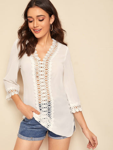 V-Neck Three Quarter Sleeve Solid Guipure Lace Insert Split Hem Top