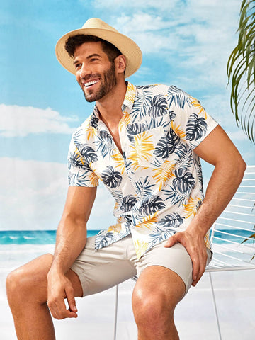 Short Sleeve Tropical Print Curved Hem Shirt
