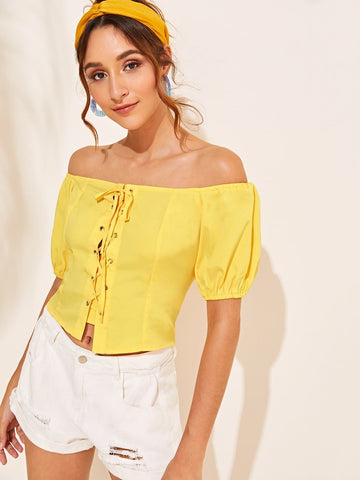 Yellow Short Sleeve Off Shoulder Lace Up Crop Top