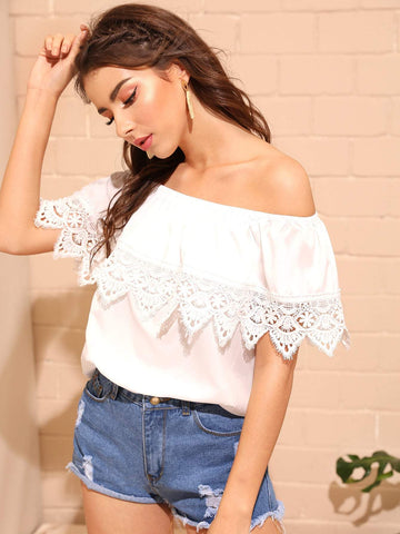 Pink Contrast Lace Panel Ruffle Trim Off Shoulder Blouse Top