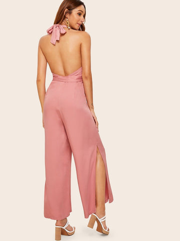 Pastel Pink Sleeveless Slit Hem Backless Belted Maxi Halter Jumpsuit