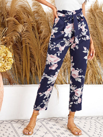 Paperbag High Waist Belted Floral Straight Leg Pants