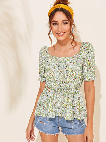 Square Neck Pastel Green Short Sleeve Ditsy Floral Square Neck Smock Top