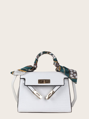 Convertible Twilly Scarf Detail Satchel Bag