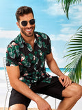 Black Short Sleeve Tropical & Flamingo Print Shirt