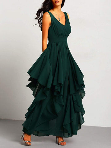V-Neck Sleeveless Chiffon Backless Asymmetrical Hem Prom Dress