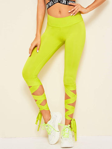Neon Lime Wide Waistband Lace-up Hem Crop Leggings