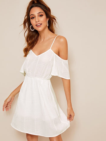 White Spaghetti Srap Cold Shoulder Plaid Dress