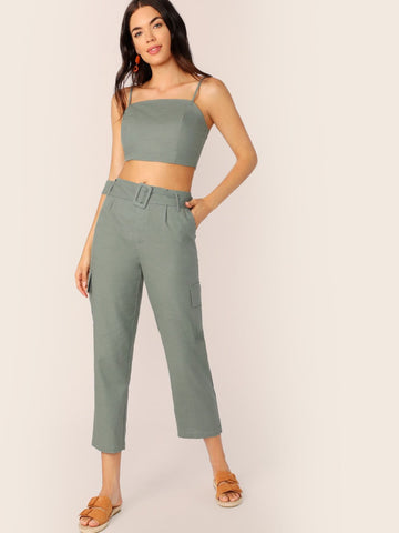 Green Sleeveless Crop Cami Top and Buckle Belted Pocket Side Pants Set