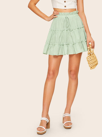 Pastel Green Cotton Paperbag Waist Frill Layered Ruffle Hem Skirt