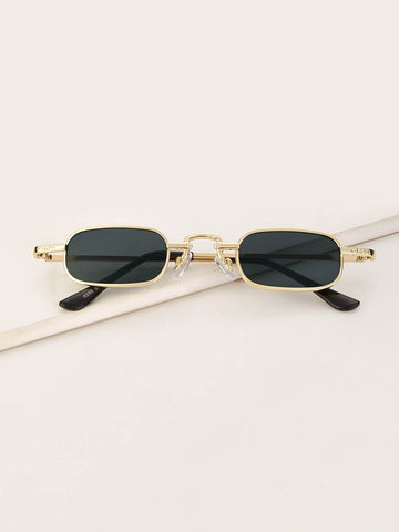 Black Rectangle Frame Tinted Lens Sunglasses