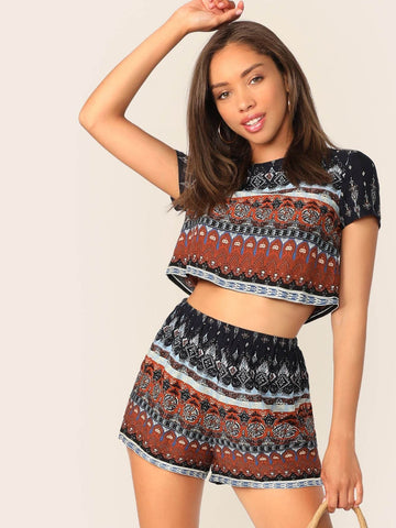 Short Sleeve Mock-neck Tribal Print Crop Top and Shorts Set