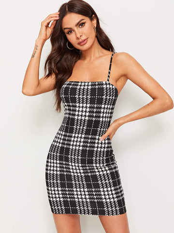 Sleeveless Spaghetti Strap Houndstooth Print Slip Pencil Dress