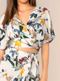 V-neck Batwing Sleeve Split Back Floral Print Wrap Top & Wrap Skirt Set