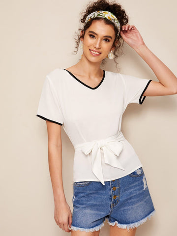 White V-Neck Short Sleeve Contrast Binding Self Belted Top