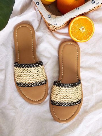 Brown Braided Straw Open Toe Flat Sliders Slippers