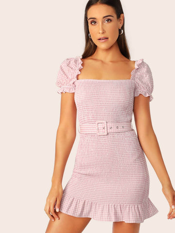 Square Neck Puff Sleeve Ruffle Trim Shirred Gingham Belted Dress