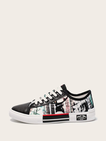 Random Pattern Lace-up Low Top Sneakers