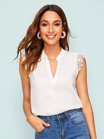 Cap Sleeve Solid Notched Neck Guipure Lace Trim Top