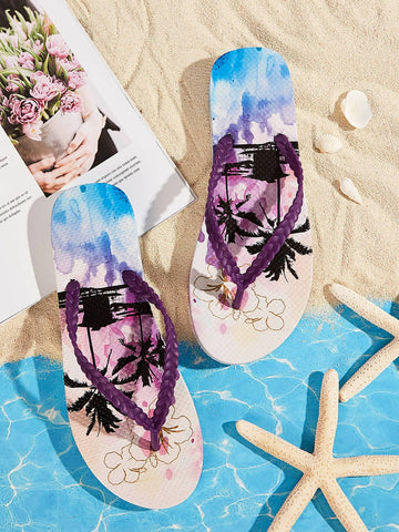 Tropical Palm Tree Print Toe Post Slippers