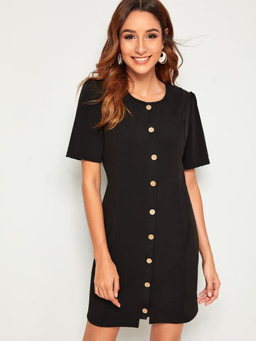 Round Neck Short Sleeve Solid Button Front Dress