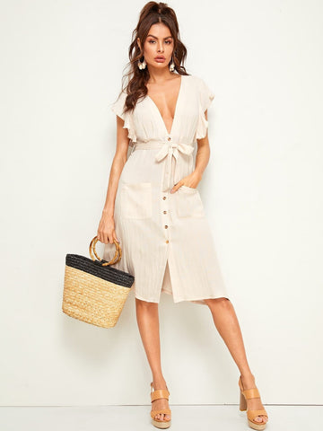 Sleeveless V-Neck Plunging Ruffle Trim Button Front Belted Shirt Dress