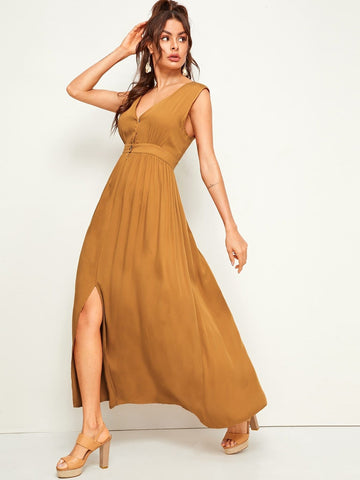 V-Neck Button & Zip Front Slit Hem Sleeveless Maxi Dress