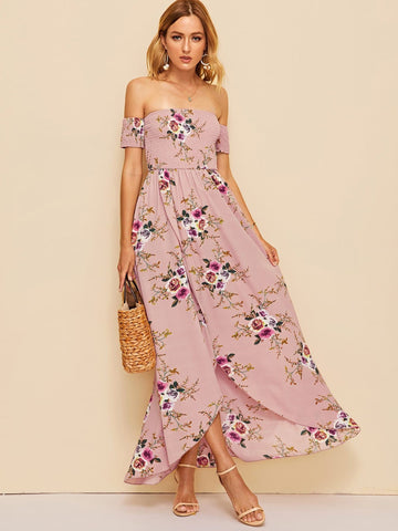 Pastel Pink Off Shoulder Shirred Bodice Floral Wrap Dress