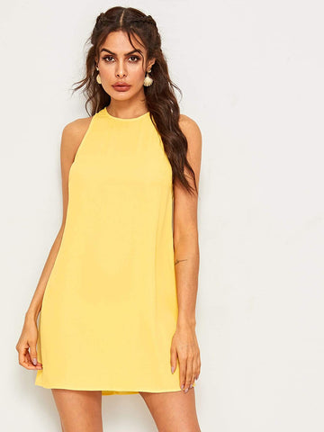 Sleeveless Round Neck Solid Keyhole Back Tank Dress