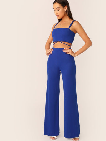 Spaghetti Strap Sleeveless Knot Back Crop Top & Flare Leg Pants Set