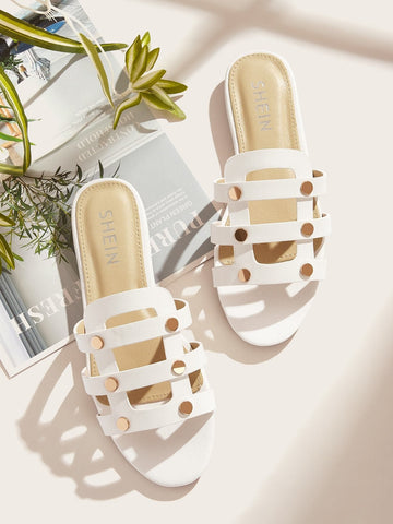 White Open Toe Cut Out Flat Sliders Slippers