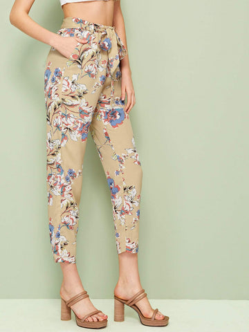 Khaki High Waist Slant Pocket Belted Floral Crop Pants