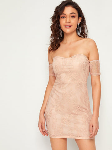 Pastel Pink Off Shoulder Lace Overlay Bodice Bodycon Dress