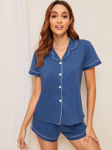Blue Short Sleeve Contrast Binding Shirt & Shorts PJ Set Sleepwear