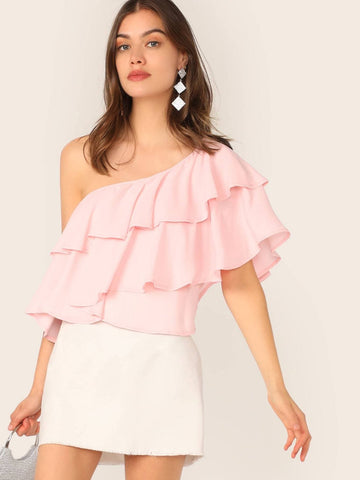 Pastel Pink One Shoulder Layered Ruffle Solid Top