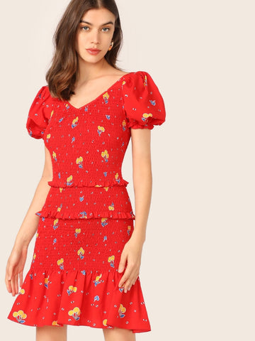 Red V-Neck Short Sleeve Layered Frill Trim Drop Waist Shirred Floral Dress