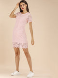 Pink Round Neck Short Sleeve Lace Overlay Scallop Hem Dress