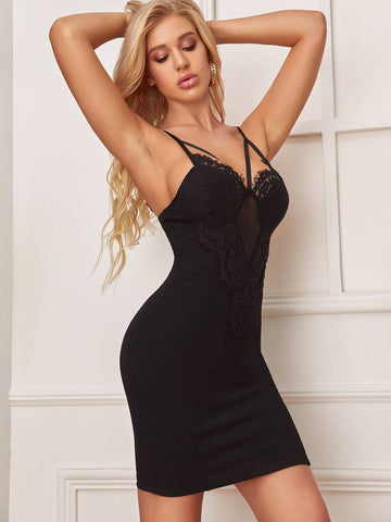Black Spaghetti Strap Sleeveless Back Contrast Lace Cami Dress