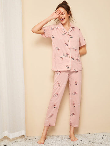 Pink Short Sleeve Floral Print Button-up Pajama Set Sleepwear
