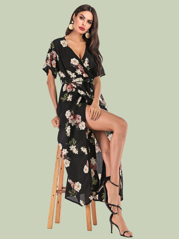 Black V-Neck Short Sleeve Surplice Front Floral Print Self Tie Dress