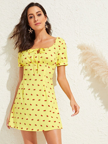 Yellow Puff Sleeve Square Tie Neck High Waist Fruit Print Dress