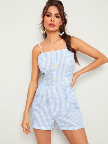 Pastel Blue Sleeveless Spaghetti Strap Button Front Textured Gingham Slip Romper Jumpsuit