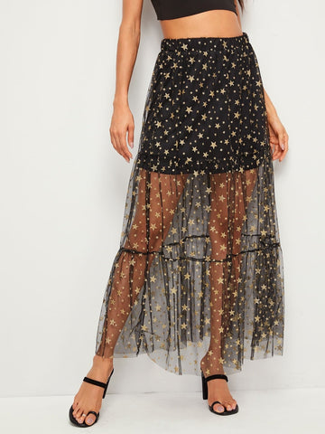Black Ruffle Hem Sheer Star Mesh Overlay Maxi Skirt