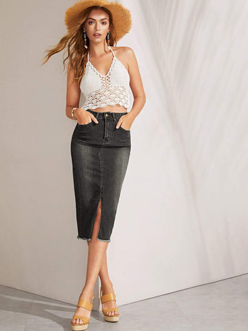 Black High Waist Raw Hem Split Skinny Denim Skirt