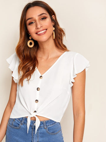 White V-Neck Butter Fly Sleeve Ruffle Armhole Button Front Tie Hem Top
