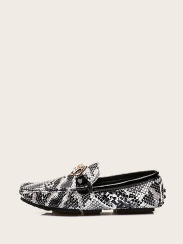 Round Tow Snakeskin Flat Loafers
